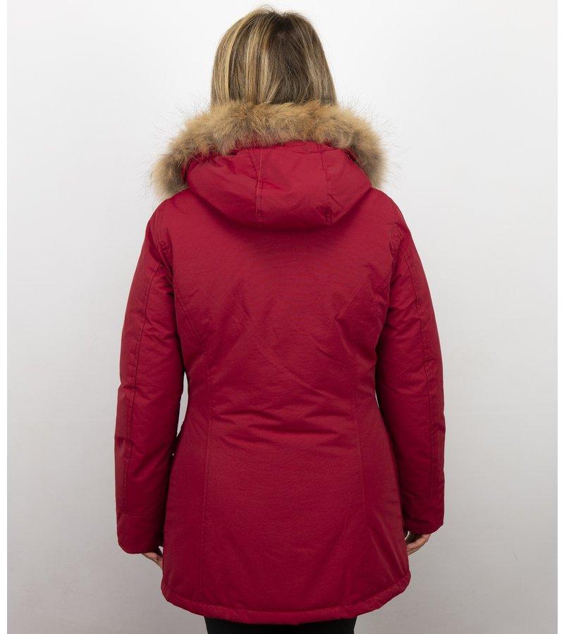 Beluomo Jacken mit Fellkragen - Winterjacken Damen Lange - Parka Wooly - Paspeltasche - Rot