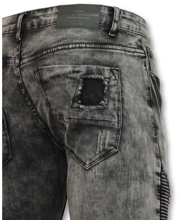 New Stone Biker Denim Jeans Herren- Graue Jeanshose - 3010