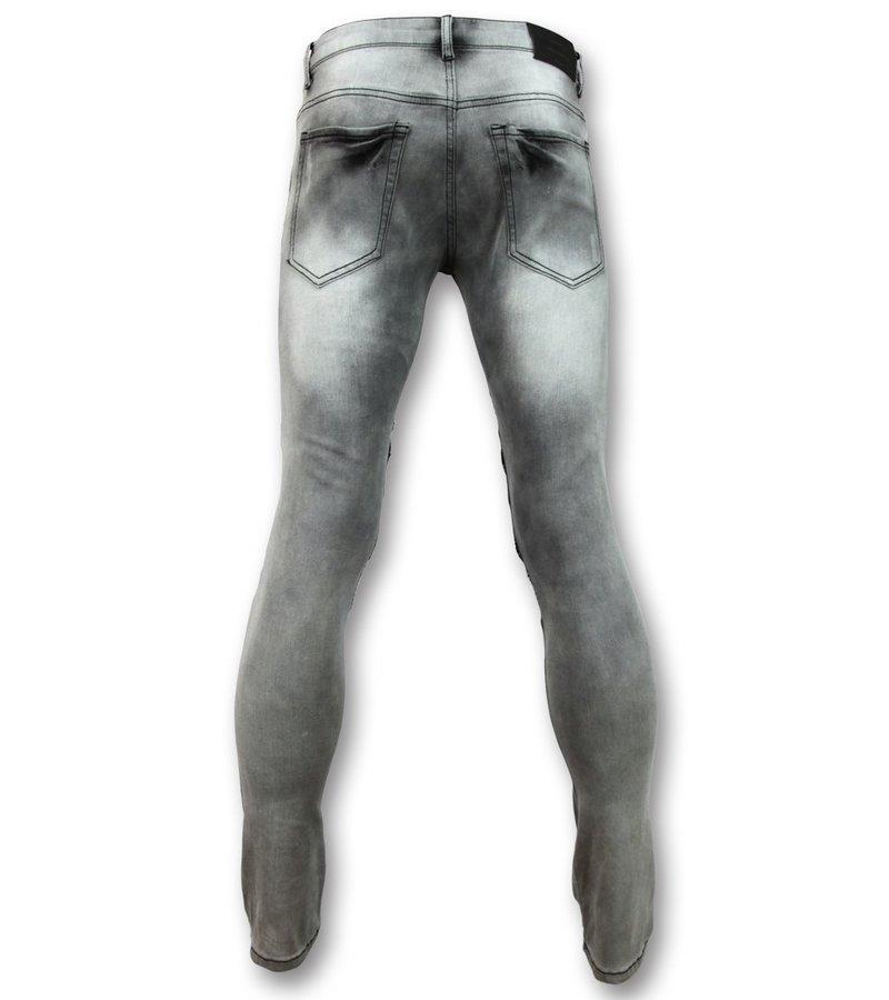 New Stone Herren Biker Jeans mit Reißverschluss - Stretch- 3001 - Grau