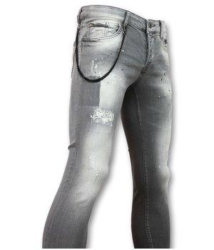 Doger Farbe spritzt - Herren Jeans online - D32 - Grau