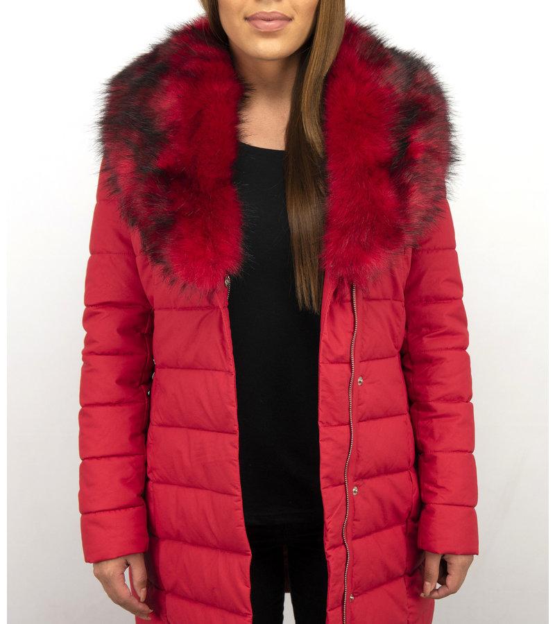 Macleria Lange Winterjacke Damen mit Kunstpelzkragen - Rot