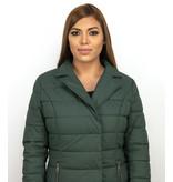 Macleria Lange Parka Winterjacke Damen mit Kunstpelzkragen - Grün