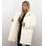 Save Style Langer Parka - Pelzmantel Damen - Weiß