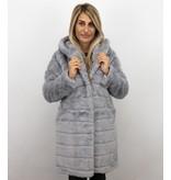 Save Style Pelzmantel Damen - Langer Winterjacken Frauen Parka - Grau