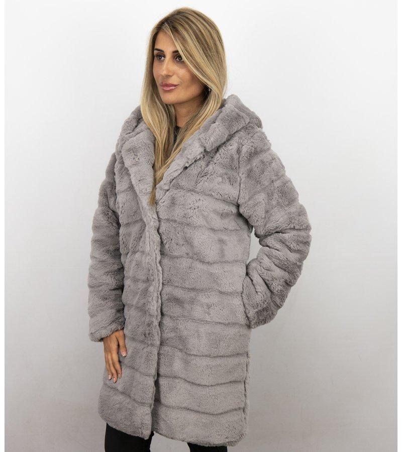 Save Style Langer Winterjacken Frauen Parka - Pelzmantel Damen - Lila