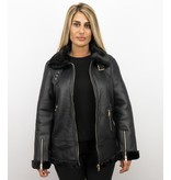 Z-design Shearling Jacket Damen - Lammy Coat - Schwarz