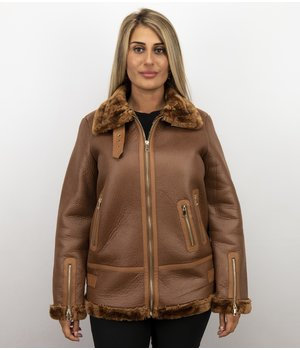 Z-design Lammy Coat - Shearling Jacket Damen - Braun