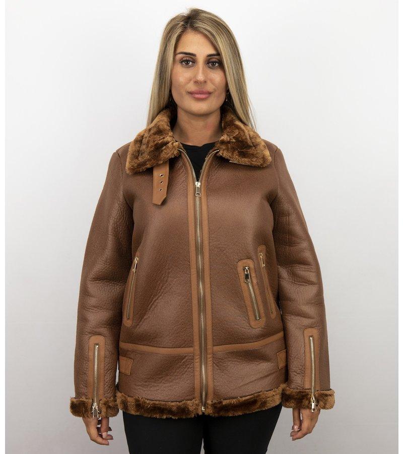 Z-design Lammy Coat - Shearling Jacket Damen - Braun