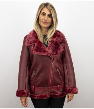 Z-design Shearling Jacket Damen - Lammy Coat - Bordeaux