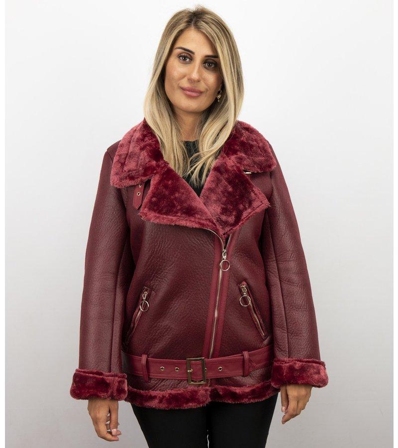 Z-design Shearling Jacket Damen - Lammy Coat - Bordeaux