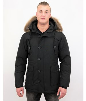 Tony Backer Herren Jacke mit Fellkragen - Outdoor Parka - Schwarz