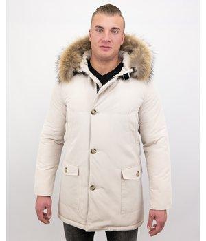 Enos Heren Jacken mit Fellkragen -Große Pelzkragen - Beige