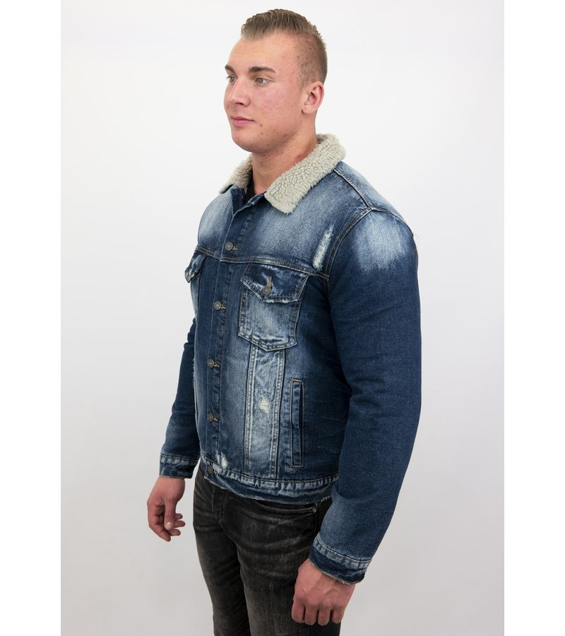 Wareen W Jeans Jacke mit Fell Stehkragen - 0278 GC - Blau