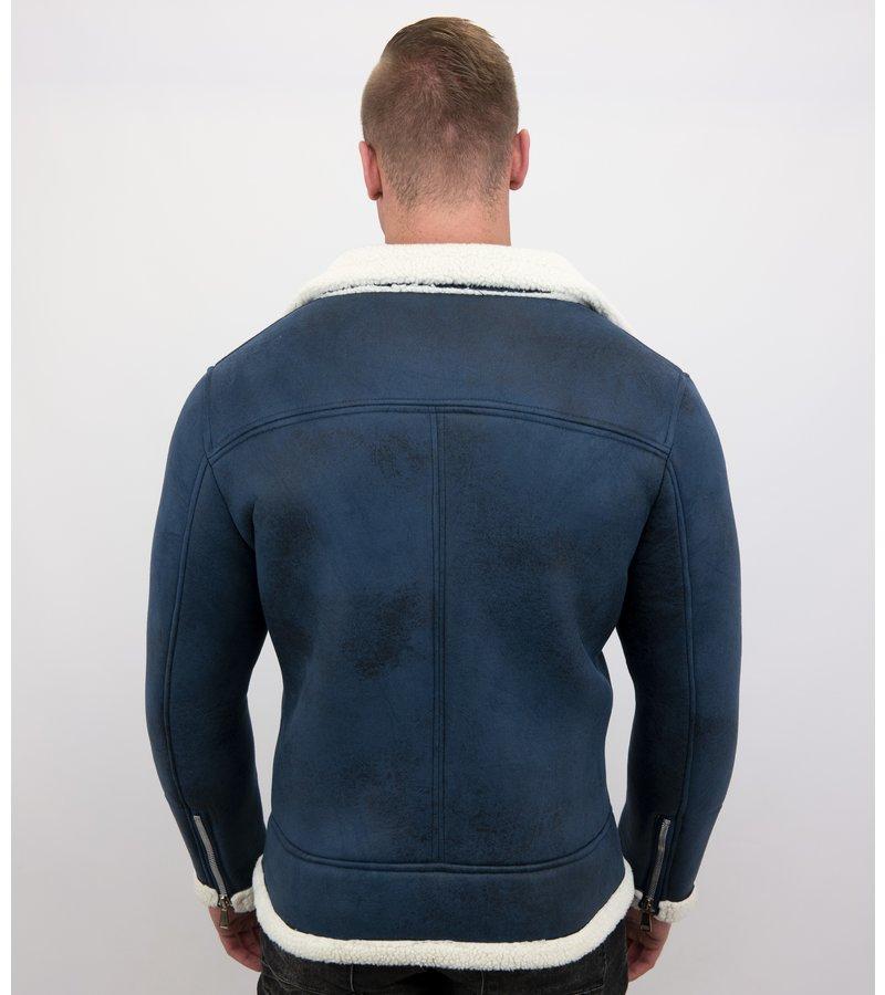 Frilivin Shearling Jacke Herren Lammfell - Jacke Mit Kunstfell - Blau