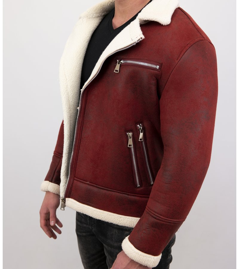 Frilivin Shearling Jacke Herren Lammfell - Lammy Coat - Rot