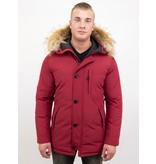 Enos Jacken mit Fellkragen - Winterjacken Herren Lange - Große Pelzkragen - Canada Style - Rot