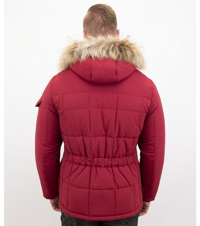 Beluomo Jacken mit Fellkragen - Winterjacken Herren Lange - Kleine Pelzkragen - Parka Karo - Rot