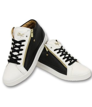 Cash Money Herren Sneaker - Bee Black White Gold 2- CMS98 - Schwarz / Weiß