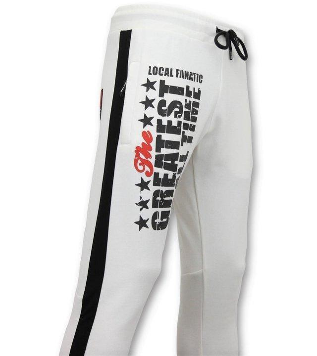 Local Fanatic Exklusive Jogginghose Männer - Muhammad Ali Trainingshose - Weiß