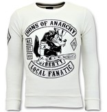 Local Fanatic Strass Sweater Men - Sons of Anarchy Sweater - Weiß