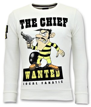 Local Fanatic Rhinestones Sweater Heren - The Chief Wanted Trui - Wit