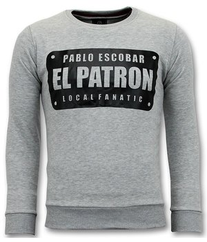 Local Fanatic Sweater Men - Pablo Escobar El Patron - Grau