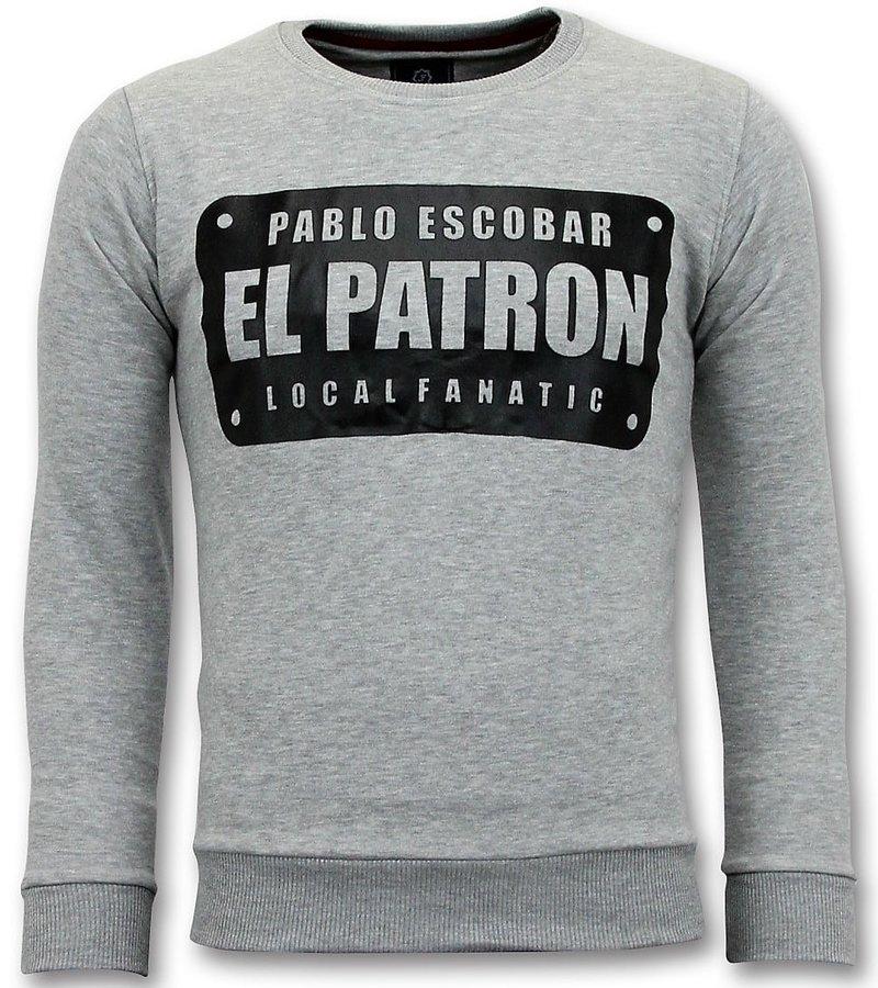 Local Fanatic Sweater Men - Pablo Escobar El Patron - Grau