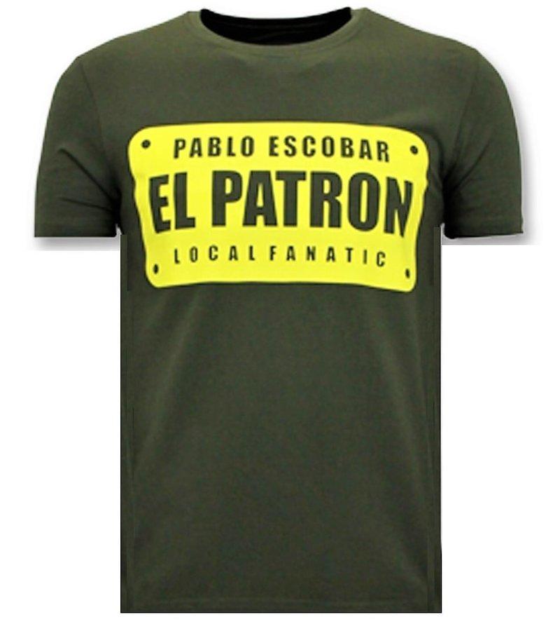 Local Fanatic Herren T-Shirts mit Aufdruck - Pablo Escobar El Patron - Grün