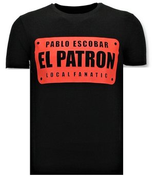 Local Fanatic Cooles T-Shirt Herren - Pablo Escobar El Patron - Schwarz