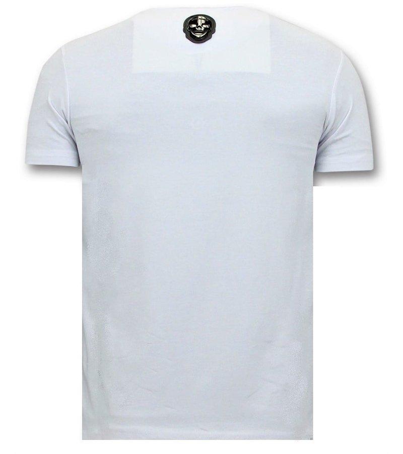 Local Fanatic T-Shirt Männer mit Aufdruck - Nasa American Flag - Weiß