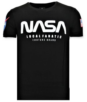 Local Fanatic Bedrucktes T-Shirt Herren - NASA American Flag - Schwarz
