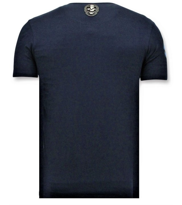 Local Fanatic Herren T-Shirts mit Aufdruck - Mario Neon - Blau