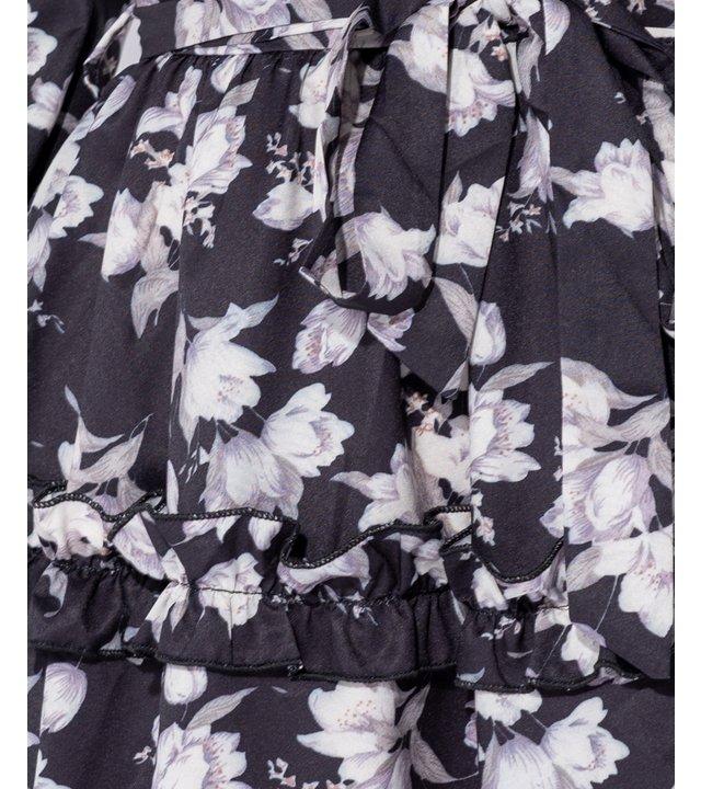 PARISIAN Floral Rüschen Trim Tiered Langarm Kleid - Frauen - Schwarz