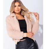 PARISIAN Deposit Pelz mit Reißverschluss vorn Bomberjacke - Frauen-Pink
