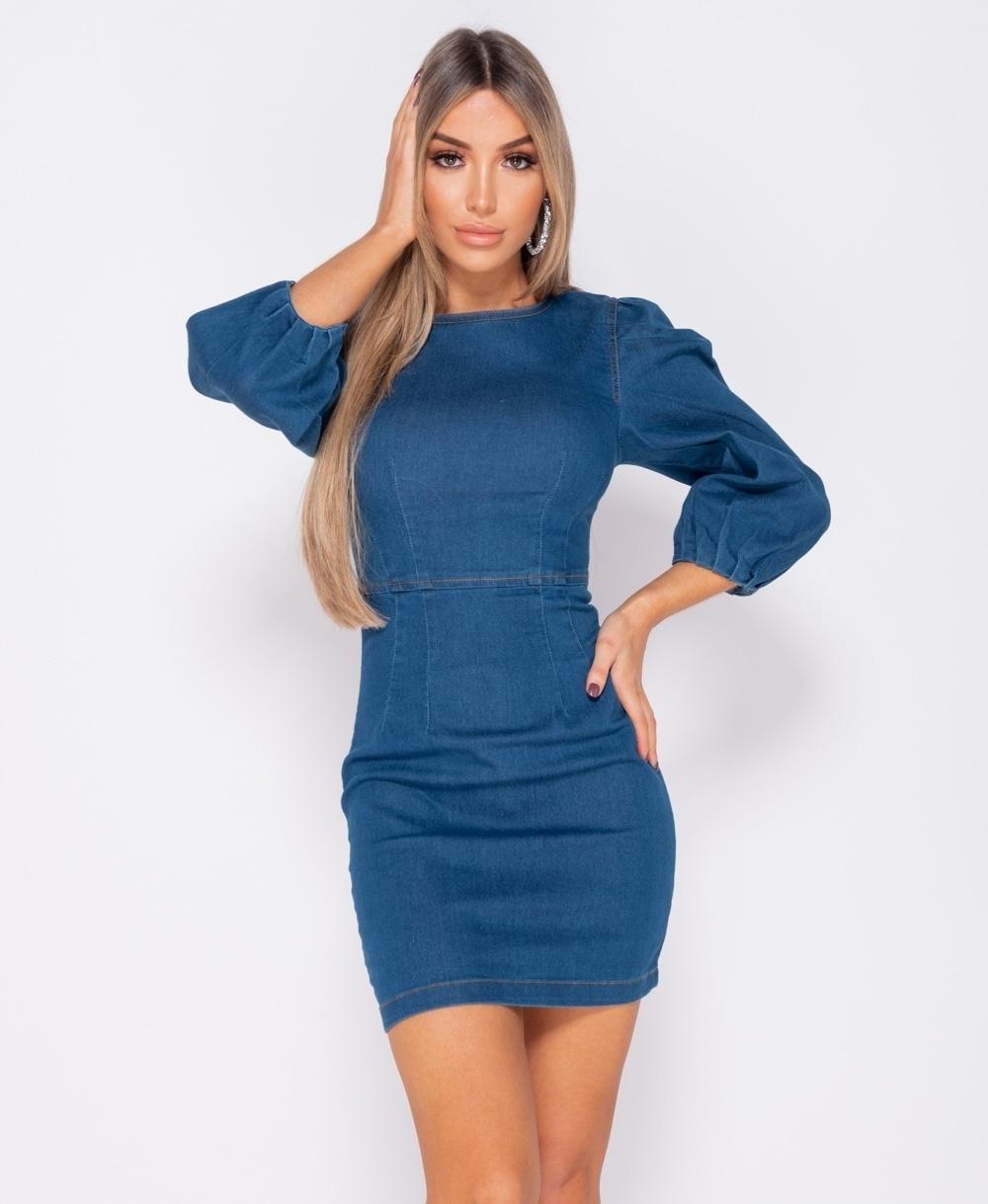 Puffärmel Denim, figurbetontes Kleid - Frauen - Blau - Styleitaly.de