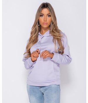PARISIAN Übergroße Kordelzug Kapuze Sweatshirt - Frauen - Flieder