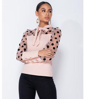 PARISIAN Tupfen-Organza Hülsen-Riegel-Ansatz Bluse - Frauen - Pink