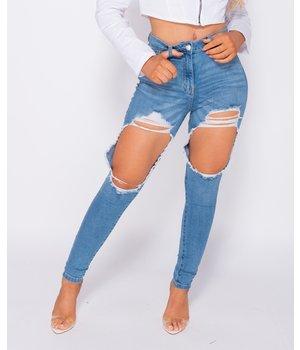 PARISIAN Distressed Extreme hohe Taillen-dünne Jeans - Frauen - Blau