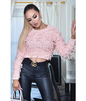 CATWALK Poppy Tassle Strickpullover Top - Frauen - Pink