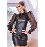 CATWALK Avery Organza Puffärmel Kleid Leatherette - Damen - Schwarz