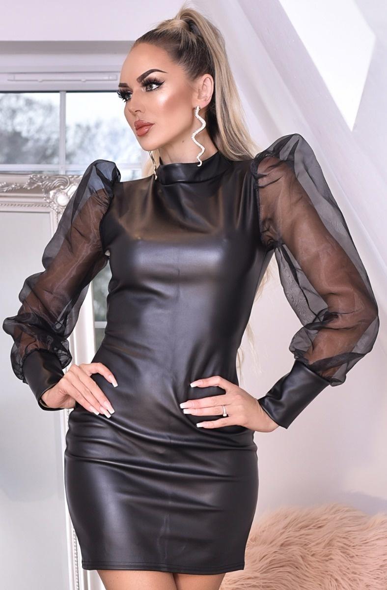 avery organza puffärmel kleid leatherette - damen - schwarz