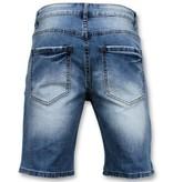 Enos Männer kurze Hosen - zerrissene Jeans-Short - 9086 - Blau