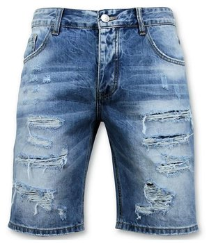 Enos Männer kurze Hosen - Ripped Short - 9073 - Blau