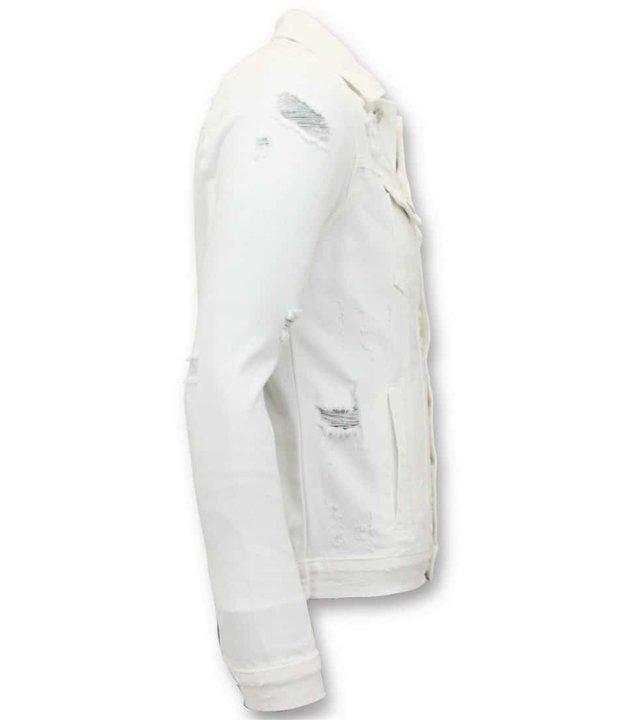 Enos Denim Jacket Men - zerrissene Denim - Weiss