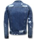 Enos Denim Jacket Men - zerrissene Denim - Blau