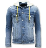 Enos Denim Jacket Men - Zerrissene mit Kapuze - Blau