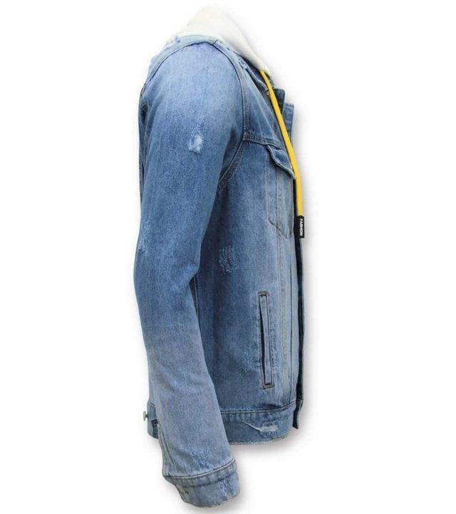 Enos Denim Jacket Men - Zerrissene mit Kapuze - Blau