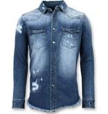 Enos Lange Denim Shirt - Männer Denim Bluse - blau