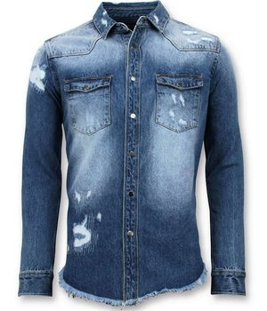 Enos Lange Denim Shirt - Männer Denim Bluse - blau