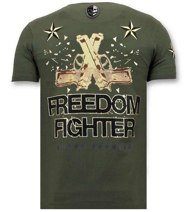 Local Fanatic Männer-T-Shirt mit Strass - Der Rebell - Grün